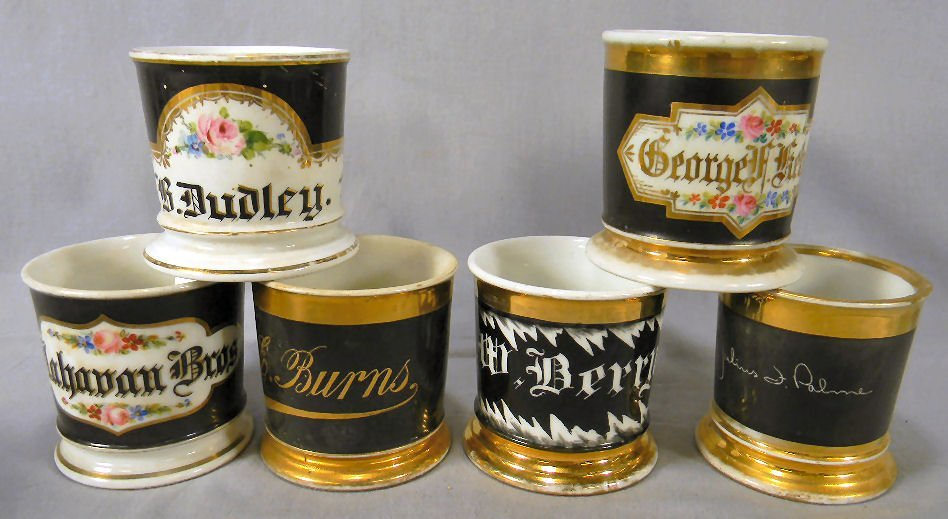 Lot of six (6) shaving mugs named on black background,