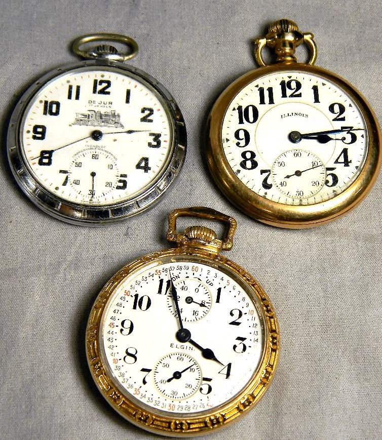 Lot of three pocket watches, Elgin 21 jewel Father Time