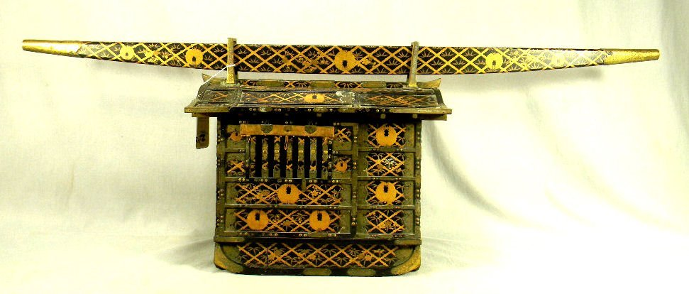 Miniature Asian lacquered Kago, 19th century, intricate