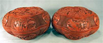 """Pair of large cinnabar boxes 11"""" diameter and 6"""" high,"""