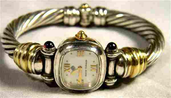 David Yurman sterling silver and 14K gold ladies watch,