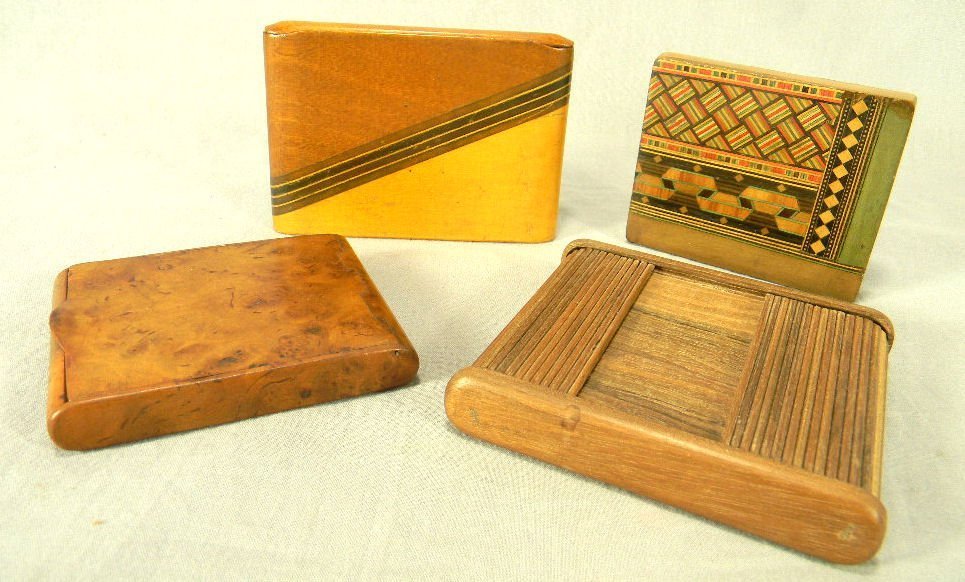 Lot of five vintage wood cigarette/card cases, no