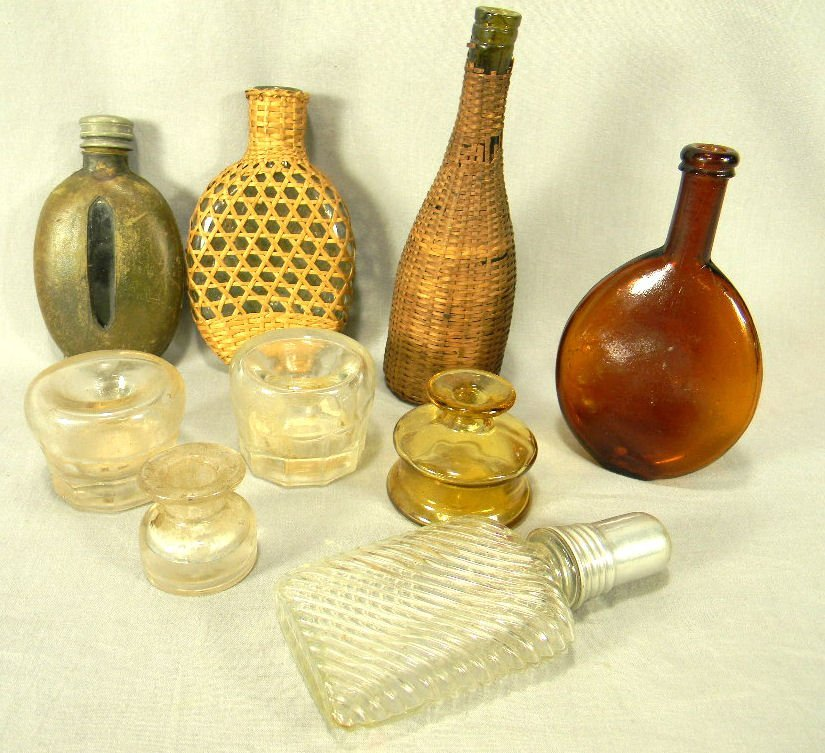 Lot of misc. antique glass items including pocket flask