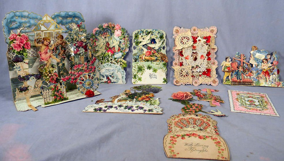 Lot of Victorian die cut Valentine cards, some breaks
