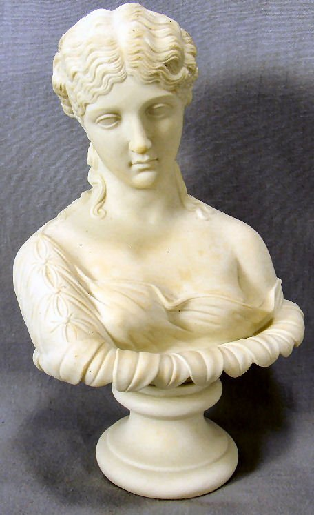 "Parian bust of woman, 9.5"" high, no chips, cracks or"