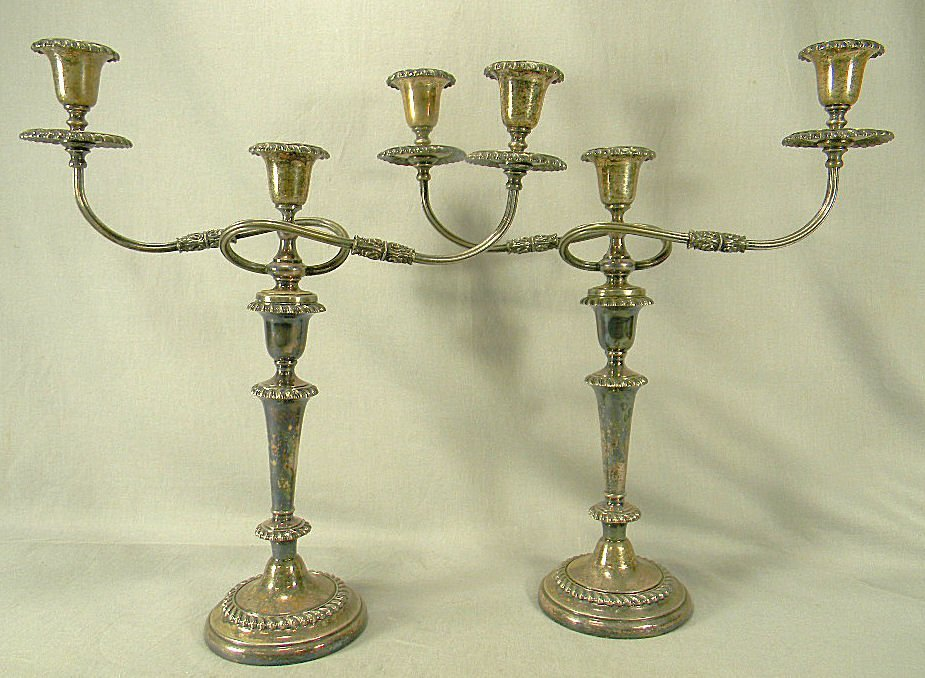 Pair of Sheffield silver plated candelabra, no dents or