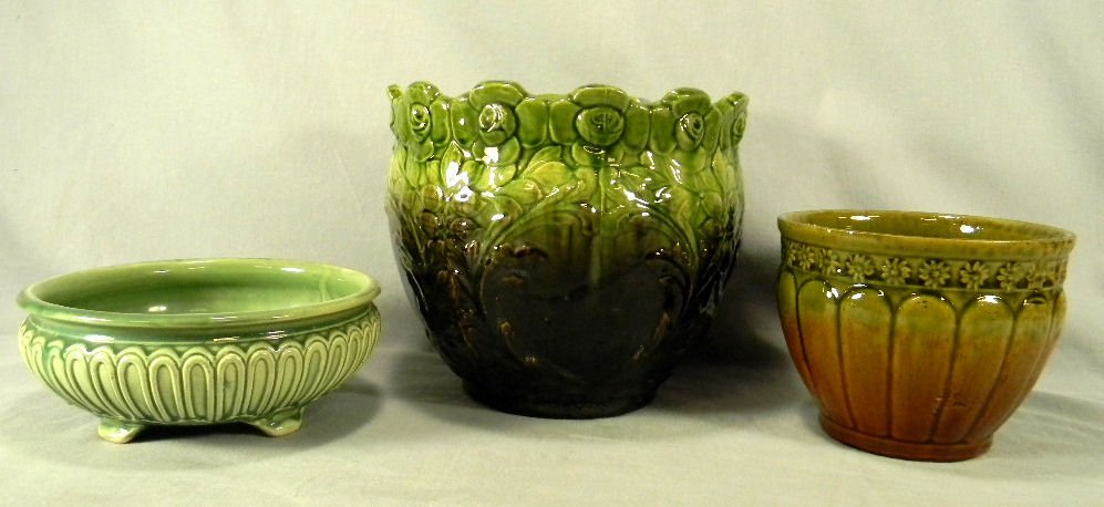 Two majolica pottery jardinières and one footed bowl,