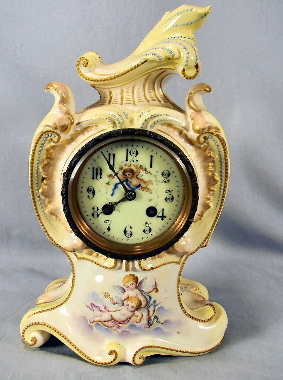 "French china case mantle clock, 13"" high, painted"