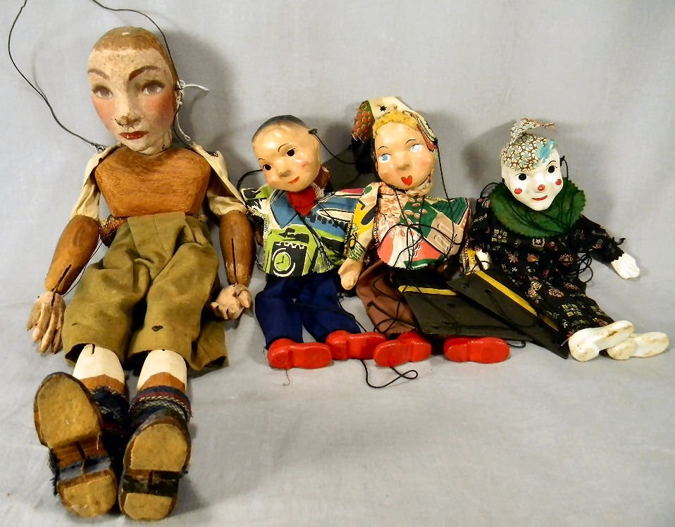 Lot of four marionettes/puppets including three 12""