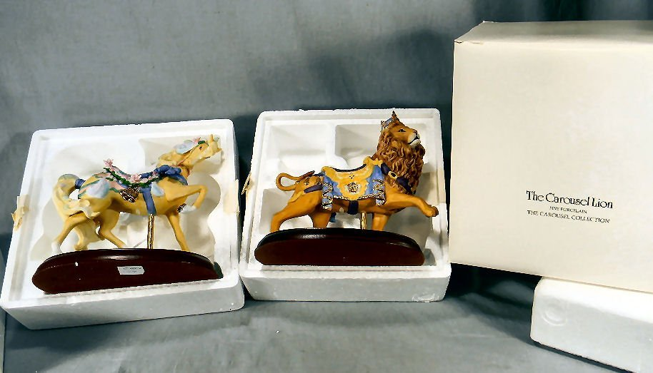 Lenox Carousel Circus Horse and Lion, each in excellent
