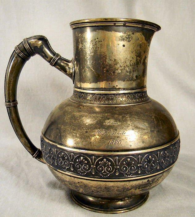Gorham heavy gauge sterling silver pitcher, monogrammed