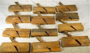 Lot of 12 antique wood molding planes,