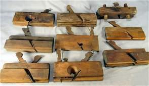 Lot of 9 antique wood molding planes,