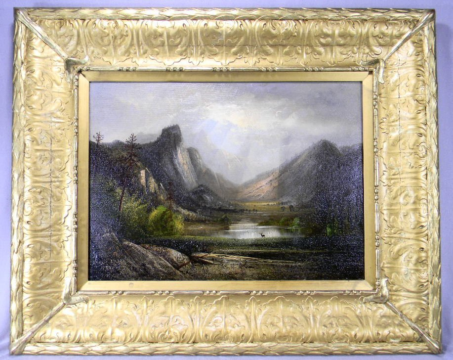 """Oil painting on canvas signed"""" Henry A. Elkins 1882"""""""