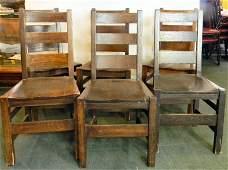 Set of six Quaint mission oak arts & crafts chairs