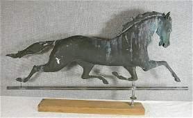 Antique trotting horse weathervane, zinc head