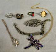 Lot of sterling silver jewelry including marcasite pin