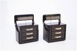Vintage Nightstands Backlit in Wood, Metal and Glass