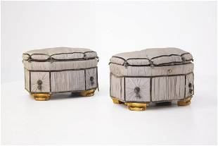 Italian Poufs Container Gray in Gilded Wood and Silk