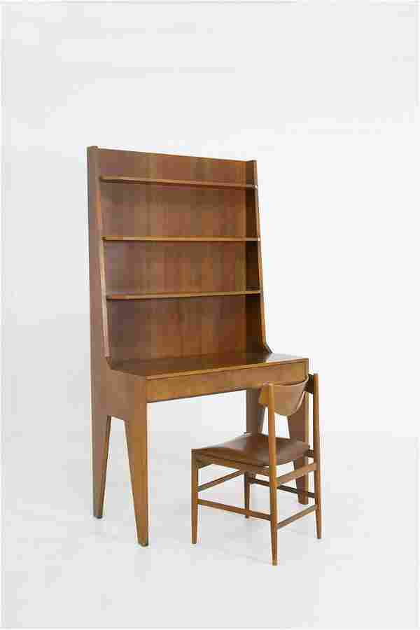Italian Desk and Bookcase with Chair in Wood