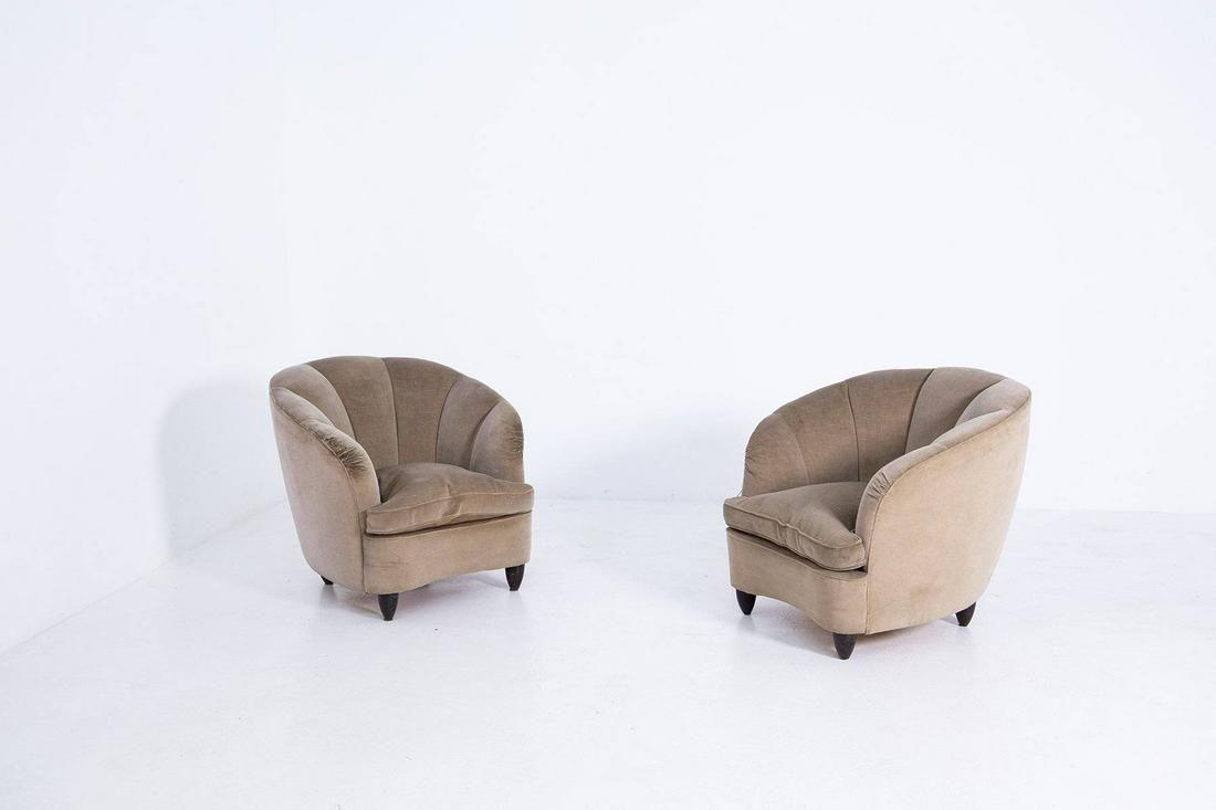 Pair of Italian Attr. Gio Ponti Velvet Armchairs in