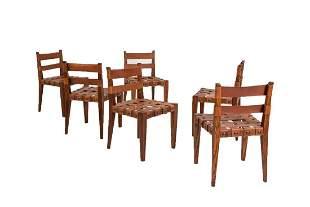Osvaldo Borsani Chairs in Wood and Leather Rare