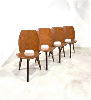 Eugenio Gerli for Tecno Four Dining Chairs, 1950s