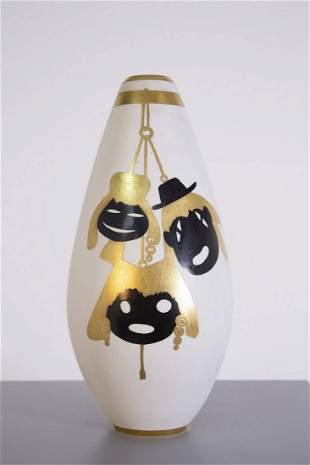 Porcelain and Gold Vase by Arrigo Finzi 1950s