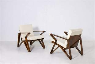 Italian Pair of Armchairs in White Cotton and Walnut