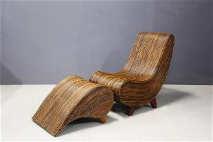 Drop-shaped Bamboo Chaise Lounge with Ottoman 1980s
