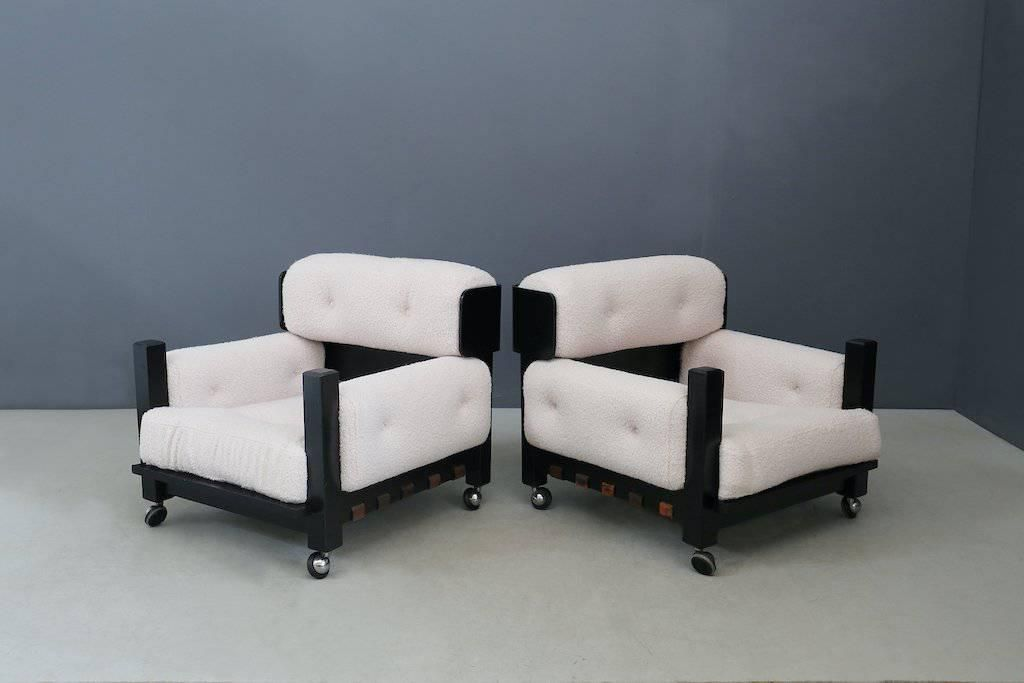 Italian Vintage Armchairs in Bouclé Fabric