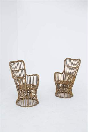 Pair of Luigi Caccia Dominioni rattan armchairs, 1960