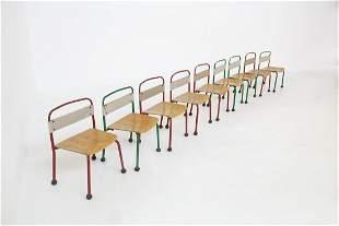 Set of nine children's chairs aluminium and wood ,