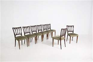 eight Italian wooden and velvet chairs, original of the
