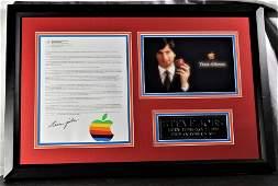 Steve Jobs signed letter on Apple letterhead , Framed