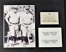 Babe Ruth and Lou Gehrig signed card , Framed
