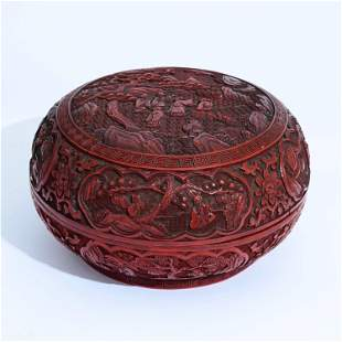 A CHINESE CINNABAR BOX & COVER