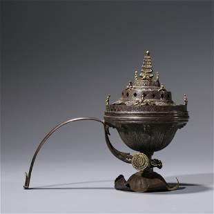 A CHINESE GOLD-DECORATED SILVER CENSER