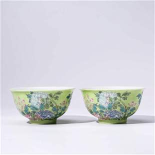 A PAIR OF CHINESE YELLOW-GROUND PORCELAIN BOWLS MARKED
