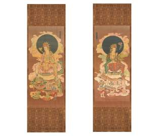 A PAIR OF MING DYNASTY CHENG HUA PERIOD SILK EMBROIDERY