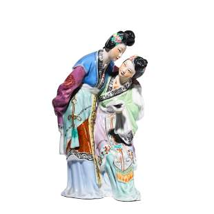 PORCELAIN SCUPTURE OF TWO LADIES