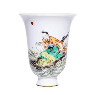 CHINESE PORCELAIN WUCAI FIGURE CUP