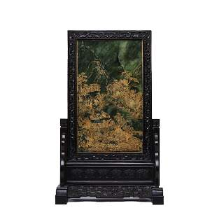CHINESE SPINICH-GREEN JADE GILT-INLAID TABLE SCREEN