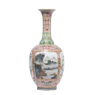 CHINESE PORCELAIN FAMILLE-ROSE MOUNTAINS & RIVERS VASE