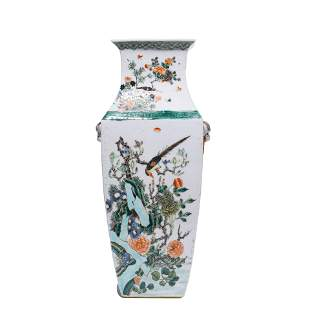 CHINESE PORCELAIN WUCAI BIRDS & FLOWERS VASE