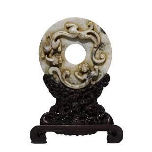 CHINESE JADE CHI DRAGON TABLE SCREEN & WOODEN STAND