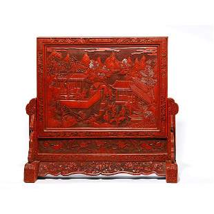 CHINESE CINNABAR LACQUER FIGURE TABLE SCREEN & STAND
