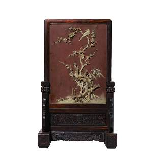 CHINESE QI YANG STONE BIRDS & FLOWERS TABLE SCREEN &