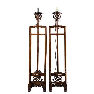 PAIR OF CHINESE HUANG HULI LAMP STANDS