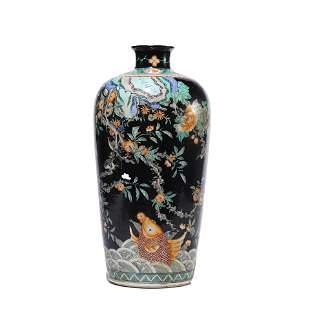 CHINESE PORCELAIN INK-GLAZED WUCAI BIRDS & FLOWERS VASE